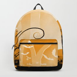 Dark Forest at Dawn in Amber Backpack