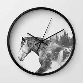 Horse | Abstract Photography | Art | Black-and-White | Animal | Double-Exposure | B&W | Fog Wall Clock
