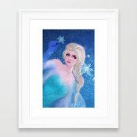 frozen elsa Framed Art Prints featuring Elsa Frozen by sazrella illustration