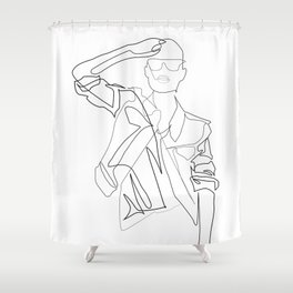"""""""Fashion Line Collection"""" - Minimal Grunge Woman Style Print Shower Curtain"""