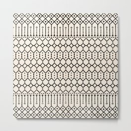 N79 - Farmhouse B&W Traditional Boho Moroccan Style Design. Metal Print