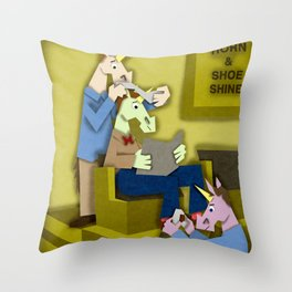 Horn & Shoe Shiner Unicorn Throw Pillow