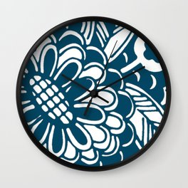Geometric Floral Pattern in Graphic Bold Blue Wall Clock