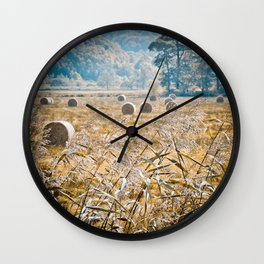 Hay Bales in Snowdonia Wall Clock