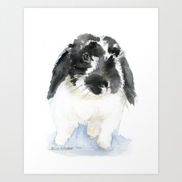 Black and White Bunny Rabbit Watercolor Art Print