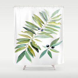 Leaves Berries Sage Green Turquiose Nature Art Floral Watercolor Shower Curtain