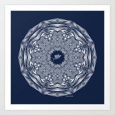 Tribal Sailfish Mandala White on Navy Art Print