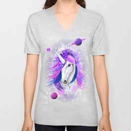 Unicorn Spirit Pink and Purple Mythical Creature Unisex V-Neck
