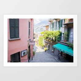 Bellagio stairway, Lake Como, Italy Art Print