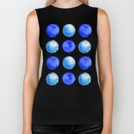 Winter Blue Watercolor Large Dots Pattern Biker Tank