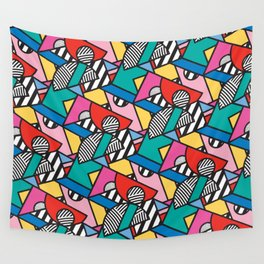 Colorful Memphis Modern Geometric Shapes - Tribal Kente African Aztec Wall Tapestry