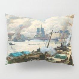 Notre Dame, River Seine, Paris Ile Saint-Louis with River Boats by Henri Alphonse Barnoin Pillow Sham
