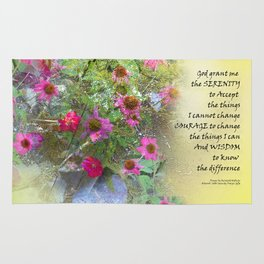 Serenity Prayer Pink Flowers on Yellow Rug