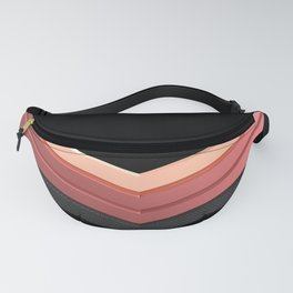 shiny pink rose gold and black leather chevrons home decor design Fanny Pack