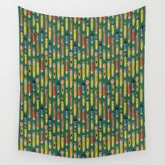 Little Pencils Green Wall Tapestry