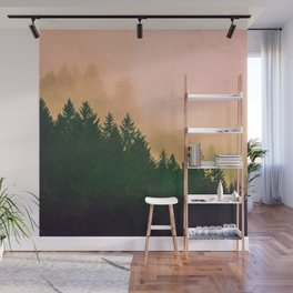 Cascadia Green Trees and Sunset Wall Mural