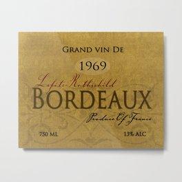 Vintage Wine Label Print (Bordeaux) Metal Print