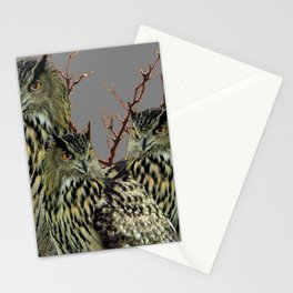 FOREST  WOODS OWL FAMILY GREY ART DESIGN  ART Stationery Cards
