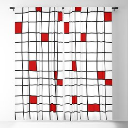 Red Squares Blackout Curtain