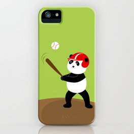 Play baseball together with a panda. iPhone Case