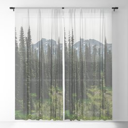 Mount Rainier Adventure V - Pacific Northwest Mountain Forest Wanderlust Sheer Curtain