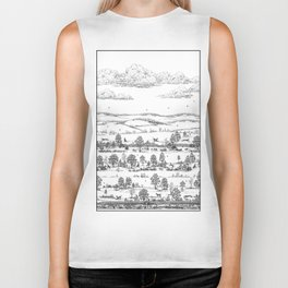 GREYHOUND TOILE LANDSCAPE  drawing Biker Tank