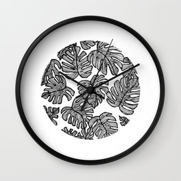 Geometric Tree Leaves Wall Clock