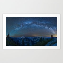 Yosemite California USA Stars Milky Way Glacier Point Space Nature canyons mountain Sky park night time Canyon Mountains Parks Night Art Print