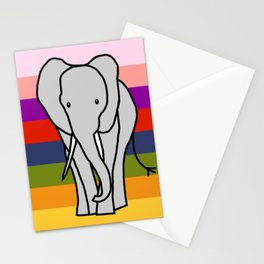 Big Elephant on a Rainbow Stationery Cards