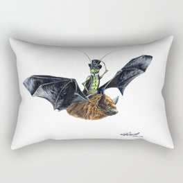 """ Rider in the Night "" happy cricket rides his pet bat Rectangular Pillow"