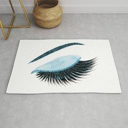 Glittery blue lashes illustration Rug