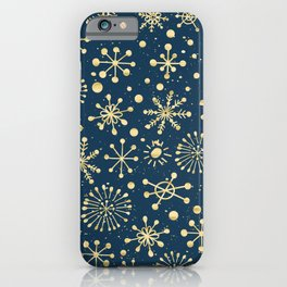 Hand Drawn Snowflakes Golden iPhone Case