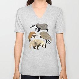 Eurasian badgers pattern Pink Unisex V-Neck