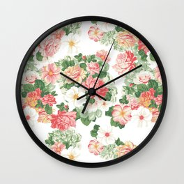 Roselyn Floral - White Wall Clock