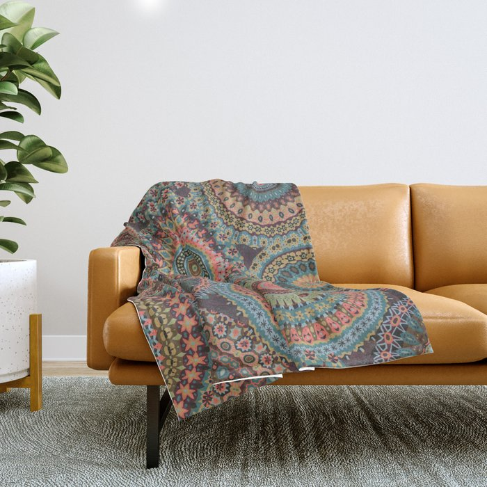 Boho Patchwork-Vintage colors Throw Blanket