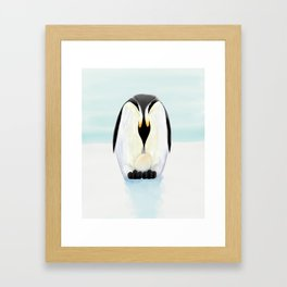 Penguin Dad and his Egg Framed Art Print