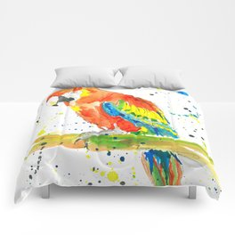 Parrot (Scarlet Macaw) - Watercolor Painting Print Comforters