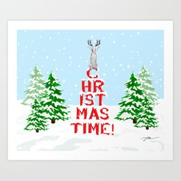CHRISTMAS TIME WEIMARANER Art Print