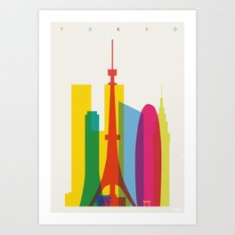 Shapes of Tokyo. Accurate to scale. Art Print