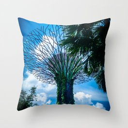 Futurism in Singapore. Supertree in Gardens by the Bay. Travel Photography. Throw Pillow
