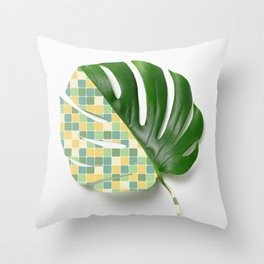 Monstera Mix - little squares edition Throw Pillow