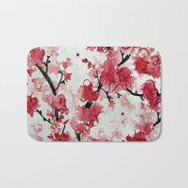 Watercolor Sakura Blossoms Bath Mat