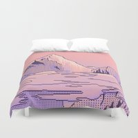 peach Duvet Covers featuring Peach Sunset by LIONESS