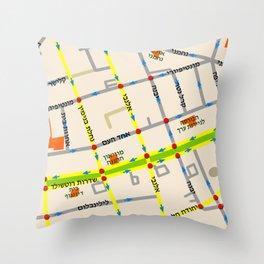 Tel Aviv map - Rothschild Blvd. Hebrew Throw Pillow