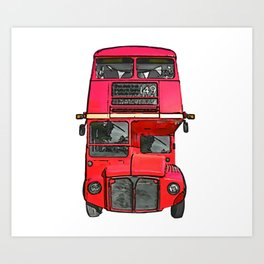 The big red bus. (Painting) Art Print