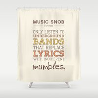 bands Shower Curtains featuring Mumbling Bands — Music Snob Tip #095 by Elizabeth Owens