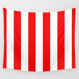 Jumbo Berry Red and White Rustic Vertical Cabana Stripes Wall Tapestry