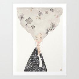 HAIR IN THE CLOUDS Art Print