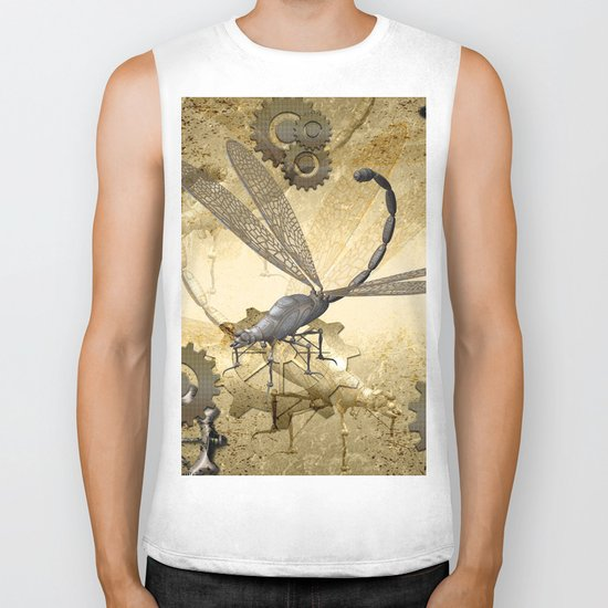 Steampunk, dragonflies Biker Tank