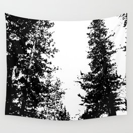 Colorado Pines Black and White Wall Tapestry